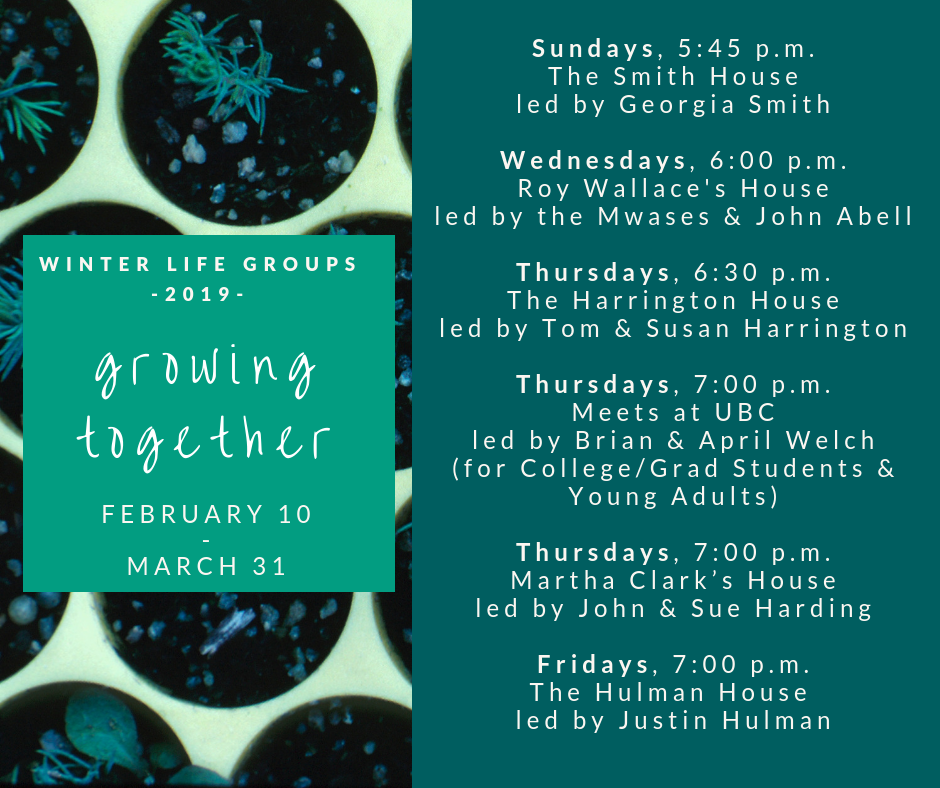 LIFE (Living in Faith Everyday) groups are sermon-based small groups that foster fellowship and spiritual growth. The week's study will be distributed each Sunday, or your leader can send you a copy. If you miss a sermon, you can always listen online. Join us this winter as we grow together!