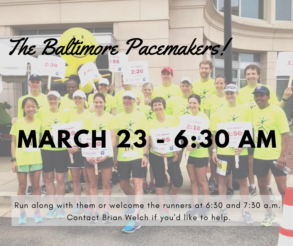 "Thanks to the impressive running habits of our own Rev. Mwase, UBC will be hosting a group of runners called ""The Baltimore Pacemakers"" on Saturday, March 23rd. This group runs all around Baltimore City, and they've chosen to start their run at our church! If you are a runner, you are welcome to run with the Pacemakers that day. The College & Beyond group will be serving some food for them after their run, and we need additional help when the runners arrive to make them feel welcome. Volunteers can show them where to find coffee, the rest rooms, etc. If you are an early riser, this is a great opportunity for you to serve: we need volunteers at 6:30 a.m.! If you can't make it quite that early, we could use a second crew of volunteers at 7:30 a.m. Please contact Brian Welch if you'd like to help:"