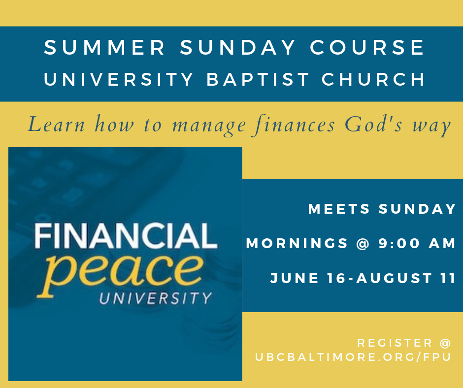 This summer, UBC is excited to host a Financial Peace University Course! If you've ever struggled with your finances or debt, this is a great opportunity to learn about dealing with money from a Godly perspective. There is a cost to register for the class, as it will also provide digital access to additional financial planning services. Please sign-up today, and bring a friend!