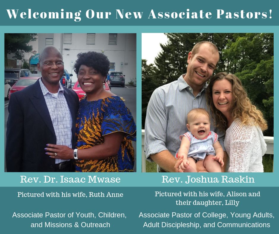 UBC is thrilled to announce that we have called two Associate Pastors to join us! We are fortunate to have Rev. Dr. Isaac Mwase already working with us, and we look forward to welcoming Rev. Raskin on September 3rd. Please join us for Foundation Worship on Sunday, August 4th to meet Rev. Raskin and his wife. They will also stay for the lunch afterwards and plan to attend the pool party. The Search Committee is so grateful for your prayers and support throughout this process!