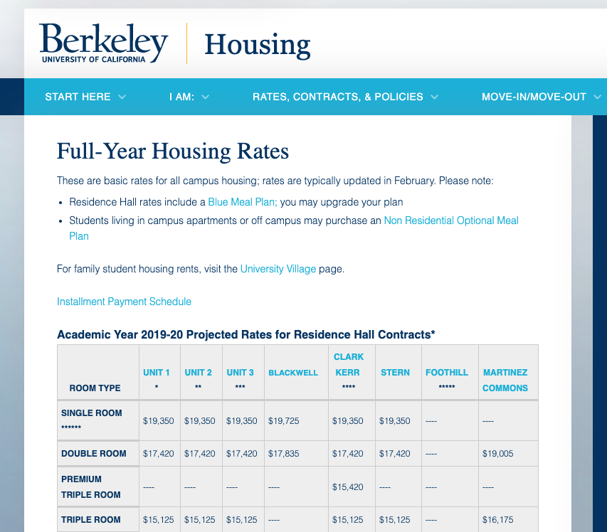 Click image to review specific housing rates for the residence hall you plan to live in.