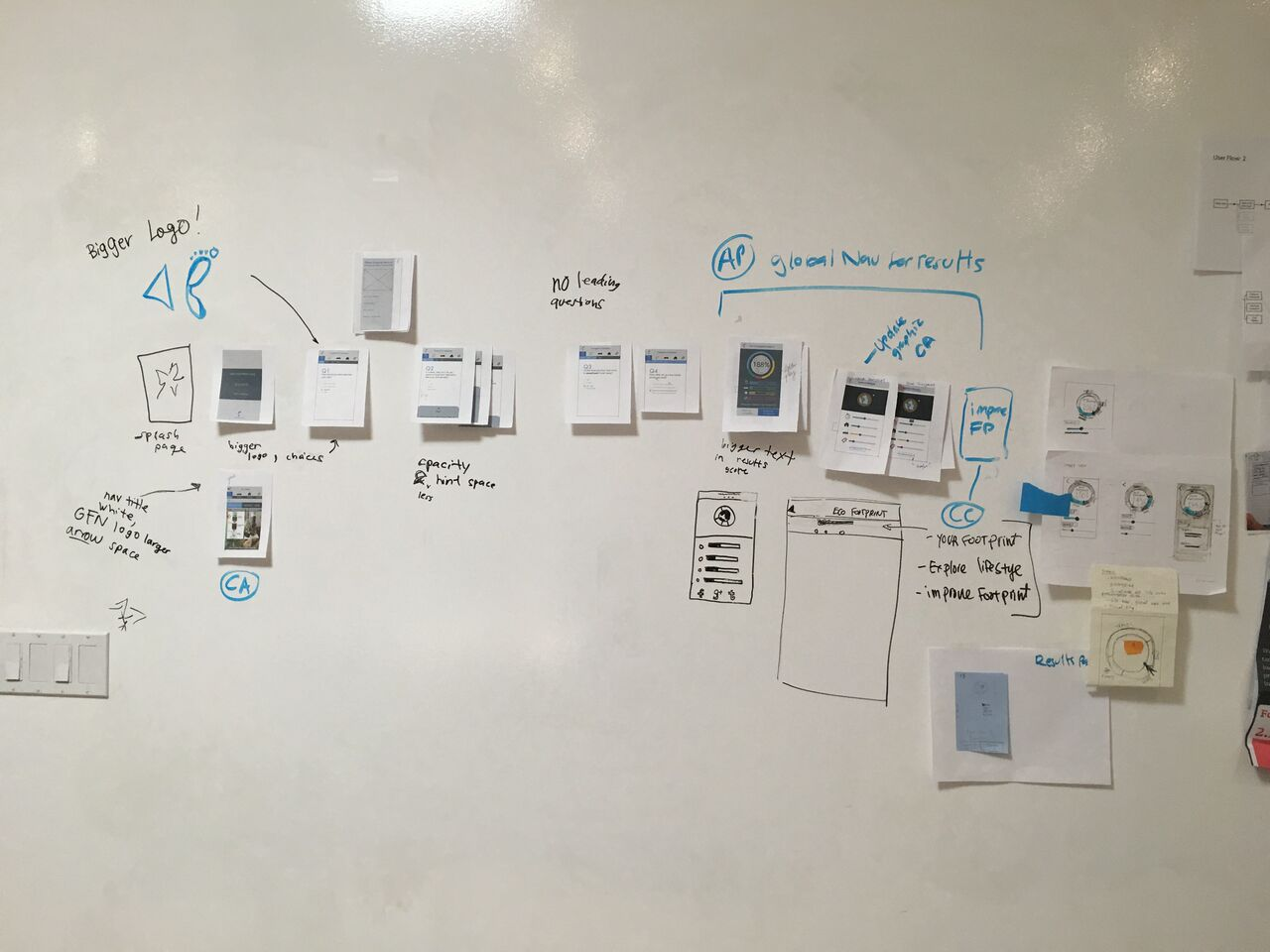 2nd Iteration, Paper Prototype User Flow