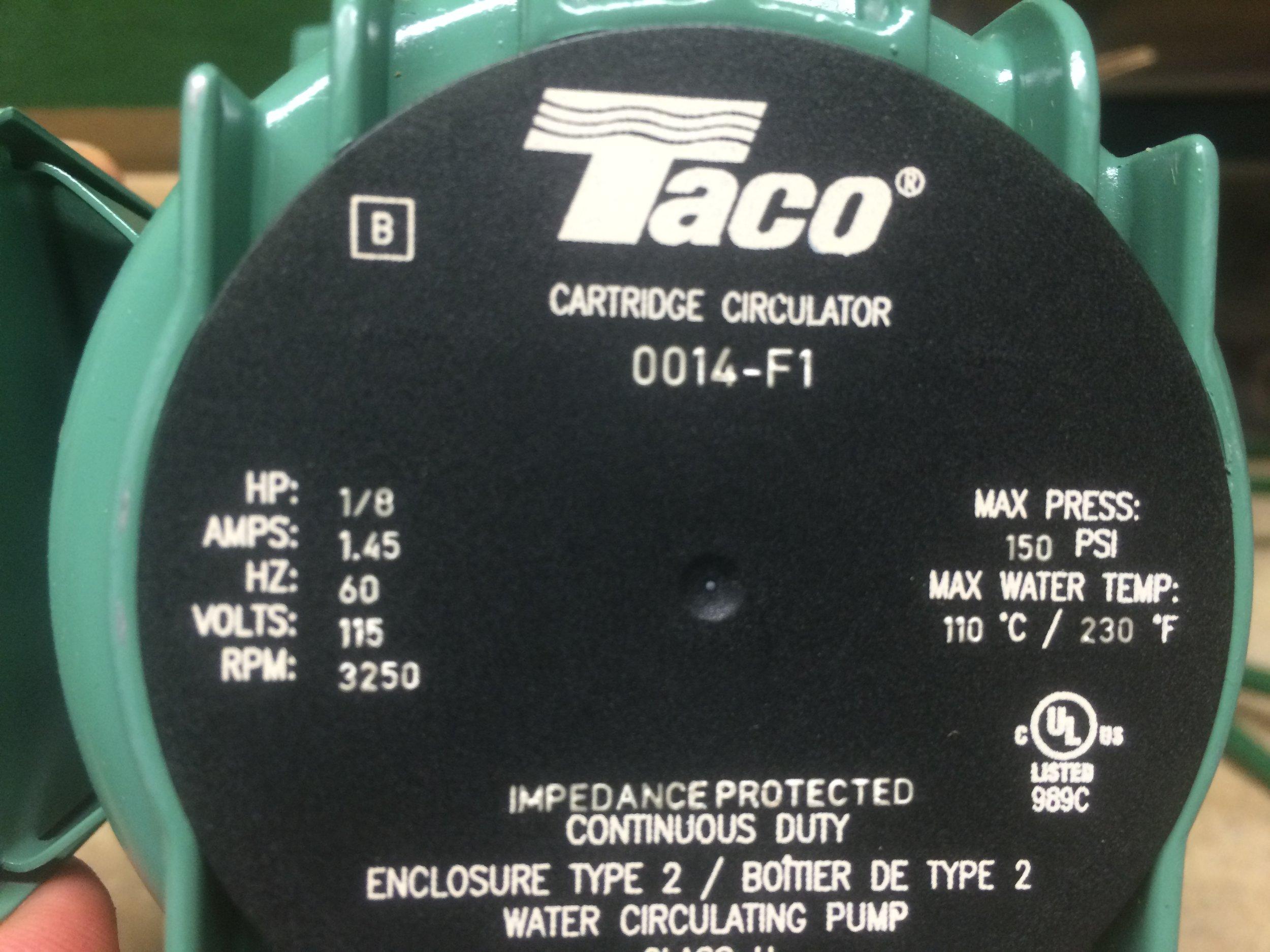 new taco pump in sacristy basement