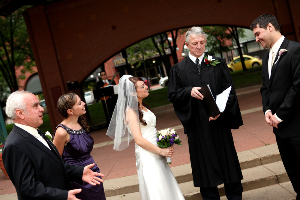 Wedding ceremony at Mear's Park in lowertown St. Paul, MN.