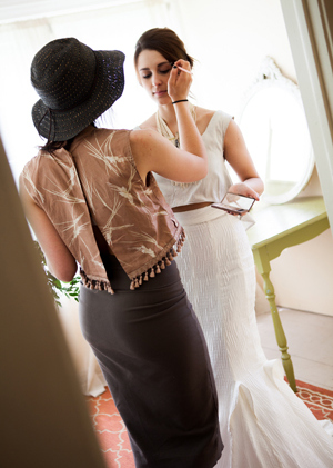 """Fashion designer Lindsey Frances stands in with Gabby Taylor for this """"getting ready"""" shot at Camrose Hill Flower Farm."""