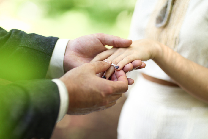 Exchanging of the wedding rings.