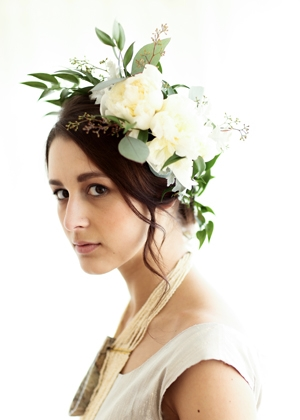 Gabby Taylor modeling a beautiful floral headpiece created by Camrose Hill Flowers.