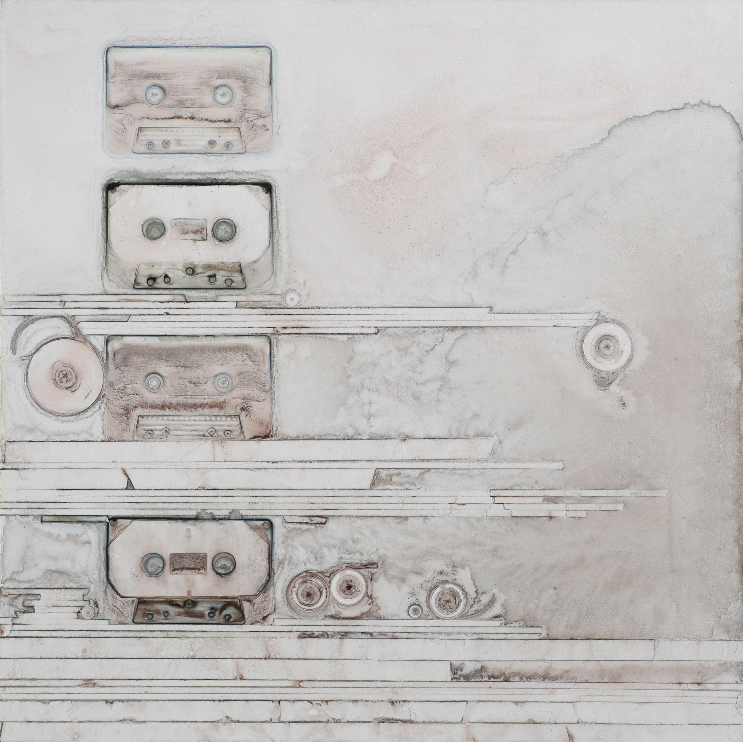 "Ghost cassettes    |   2013   |  watercolor on panel   |   18"" x 18"""