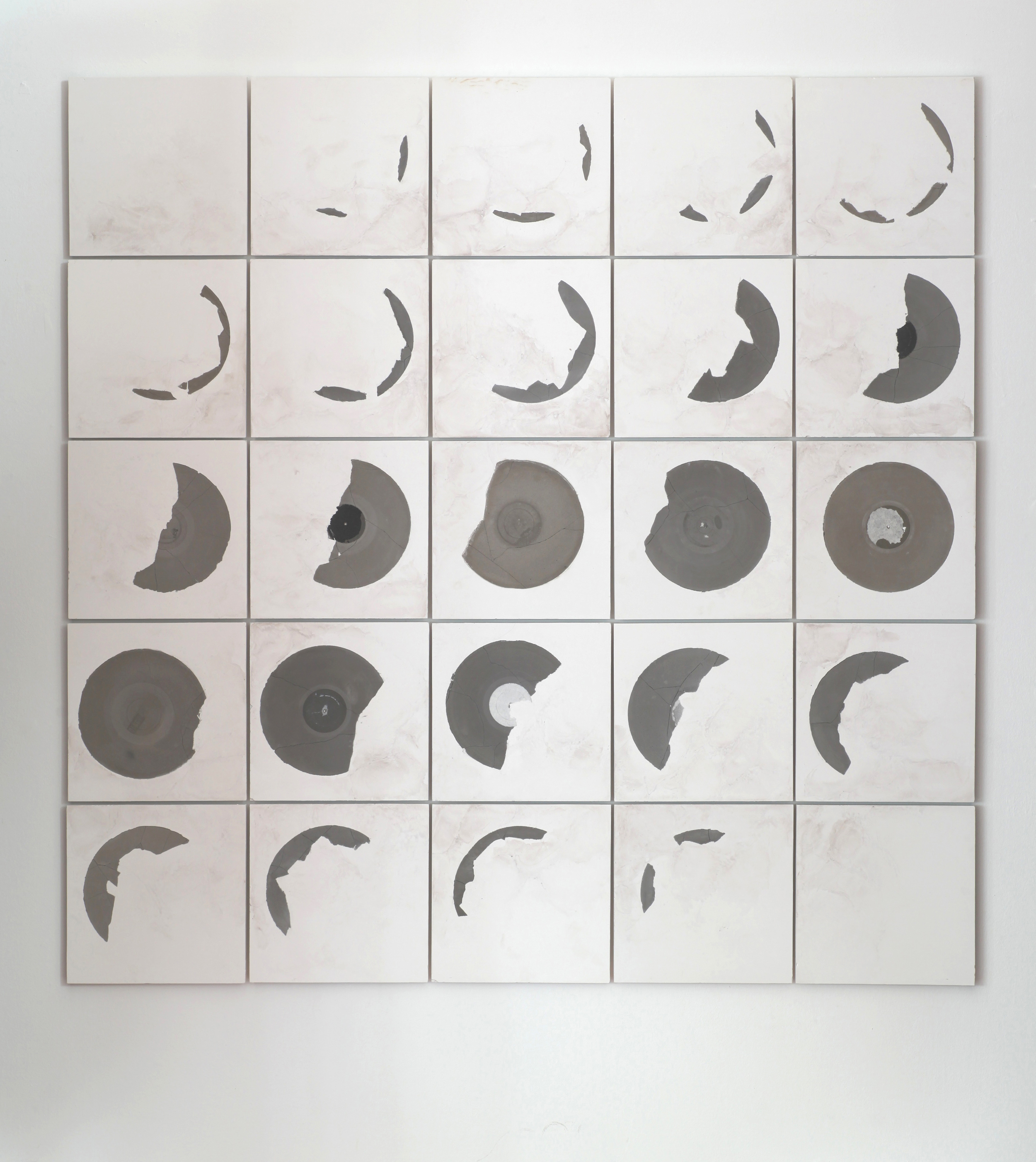 "Record Fossil | Moon Calendar #1      |     2013    |    plaster, concrete and pigment    |   82"" x 82"""