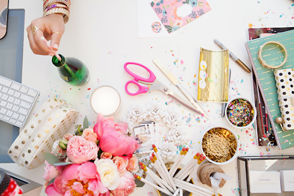 I love this shot of Stephanie Sterjovski's desk, featured on Glitter Guide! How fun are those colors?