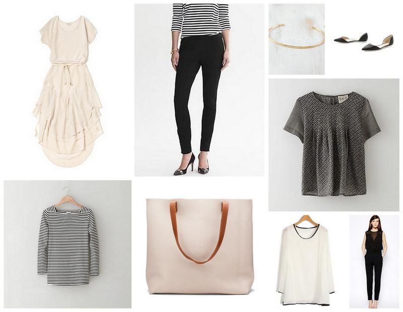Dress /  Stripe Top /  Leather   Tote /  Pants /  Bracelet /  Flats /  Blouse /  White Top /  Bodysuit