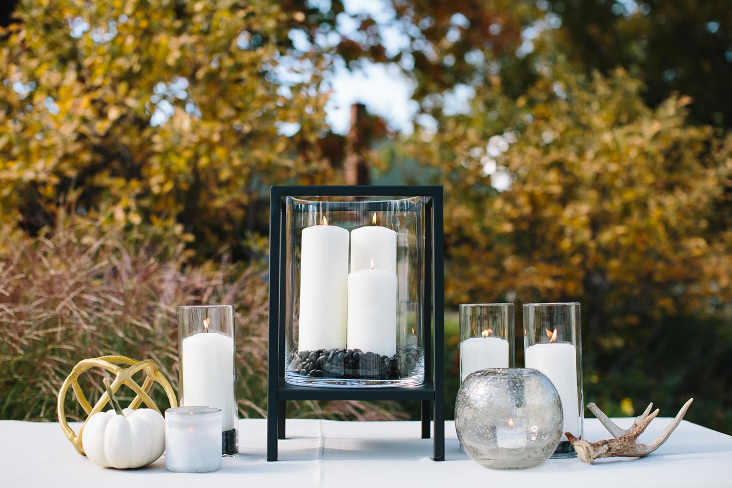 candles and modern rustic decor