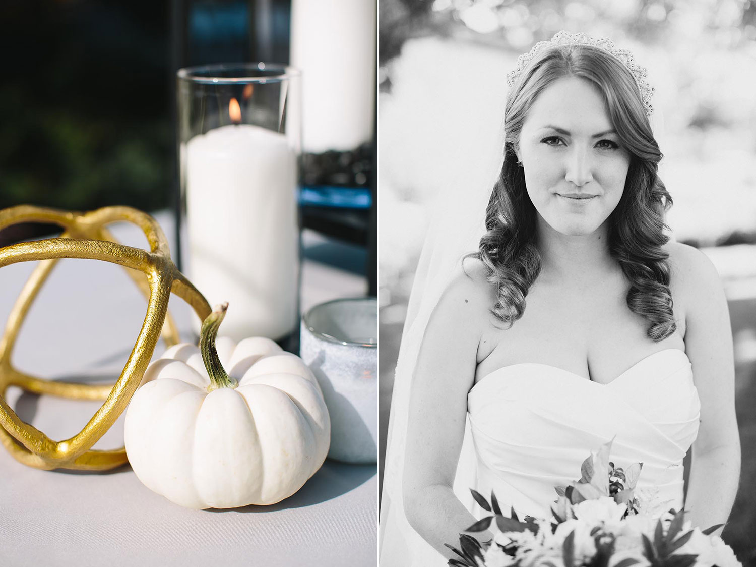 white pumpkins wedding details