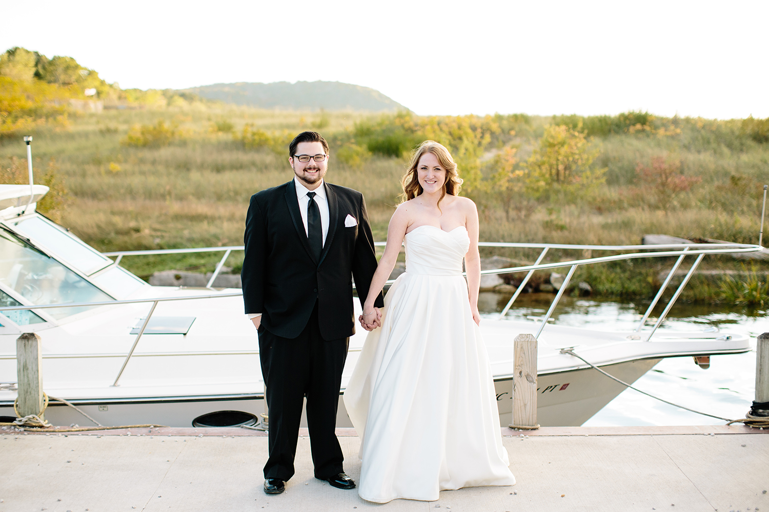bride and groom yacht