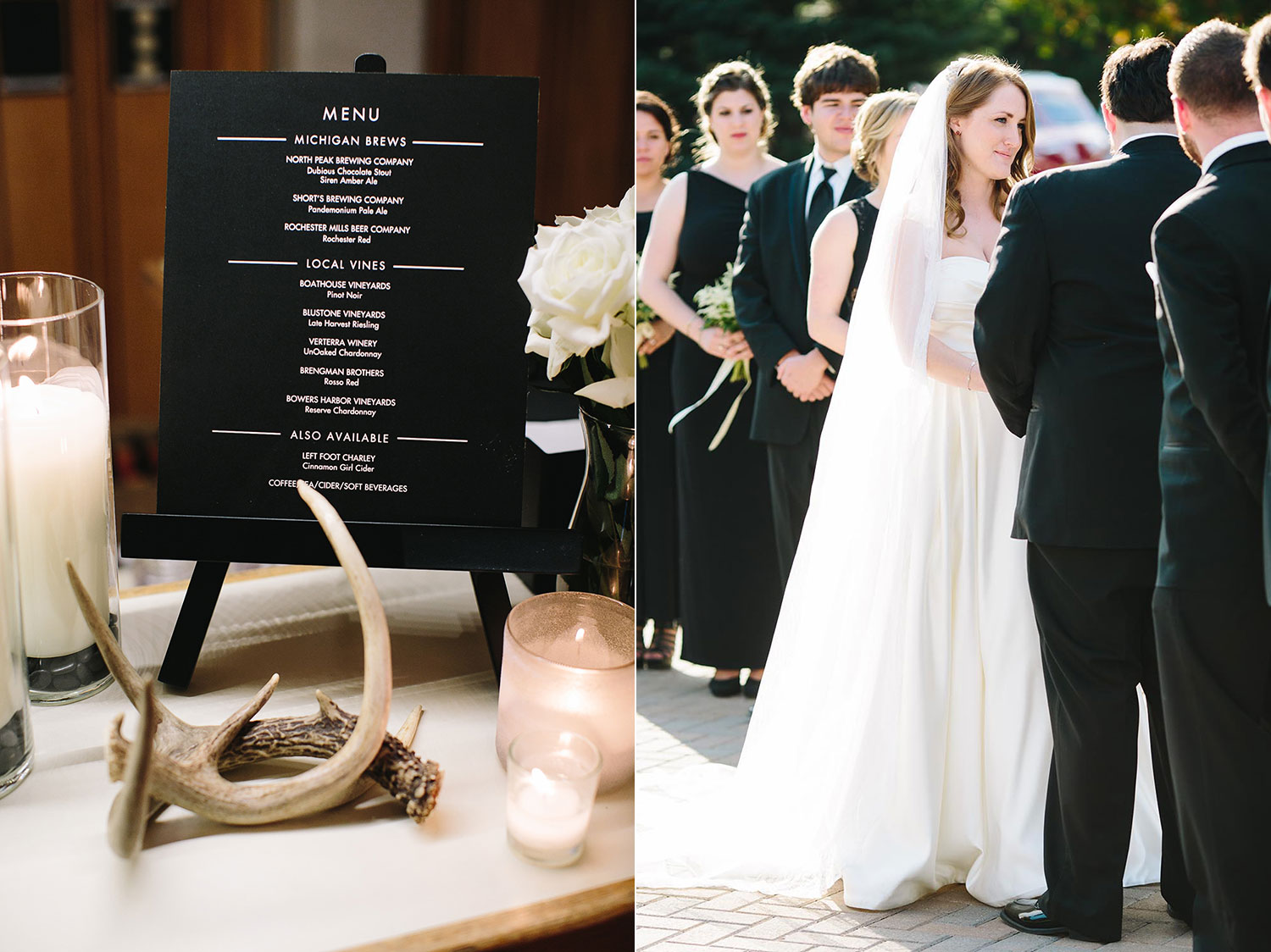 elegant black and white wedding with rustic details