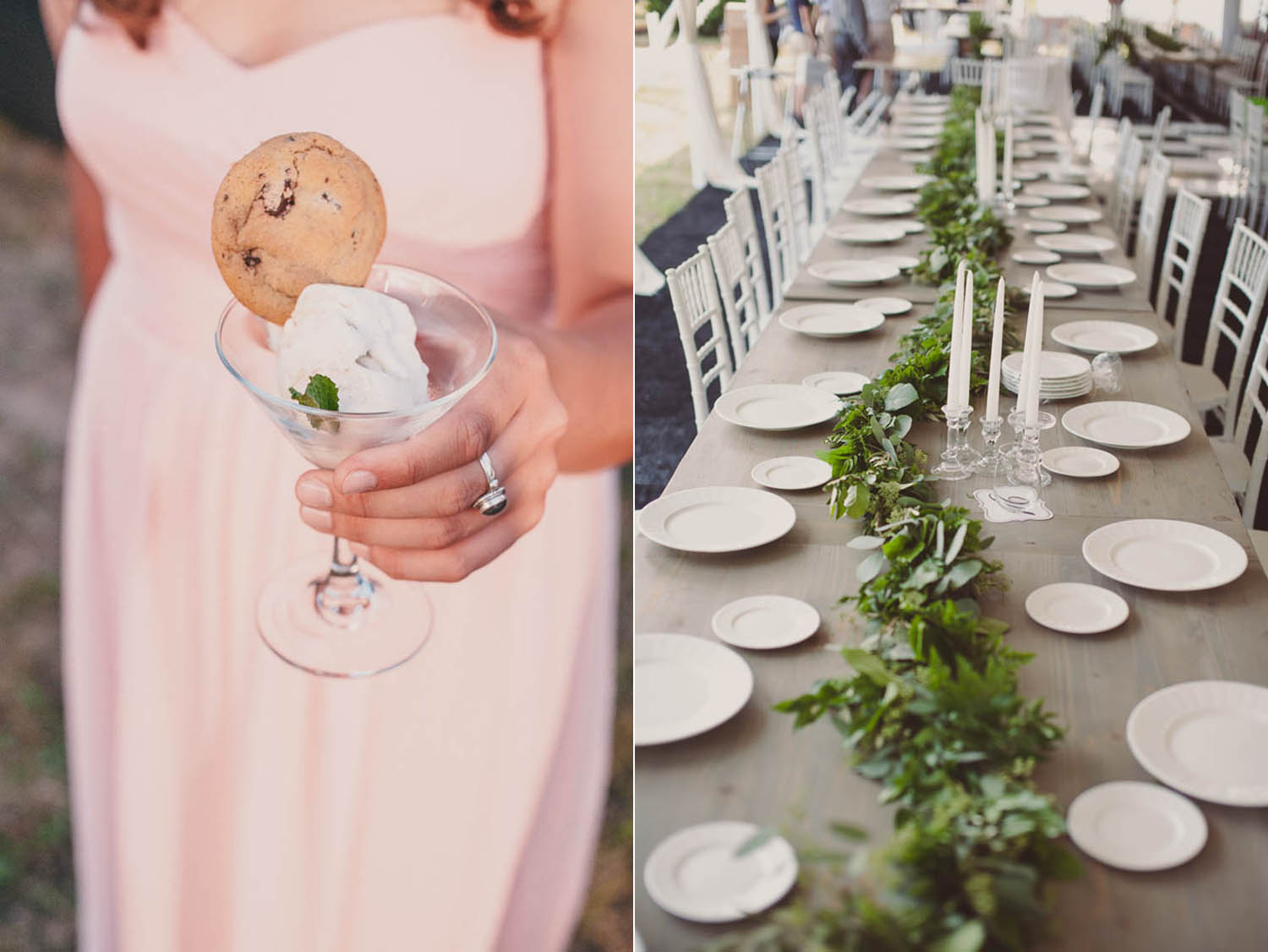 grey table with greenery runner