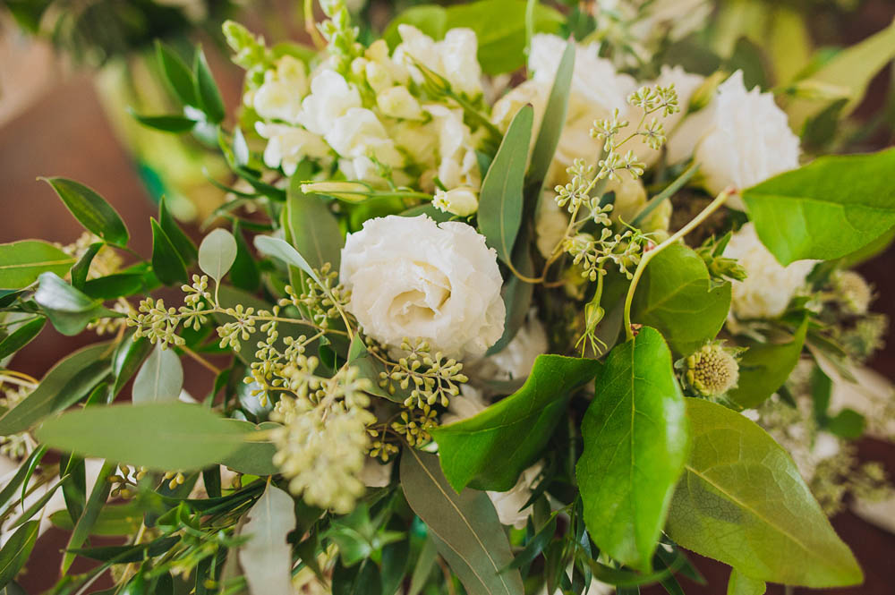 white flowers with lots of greenery
