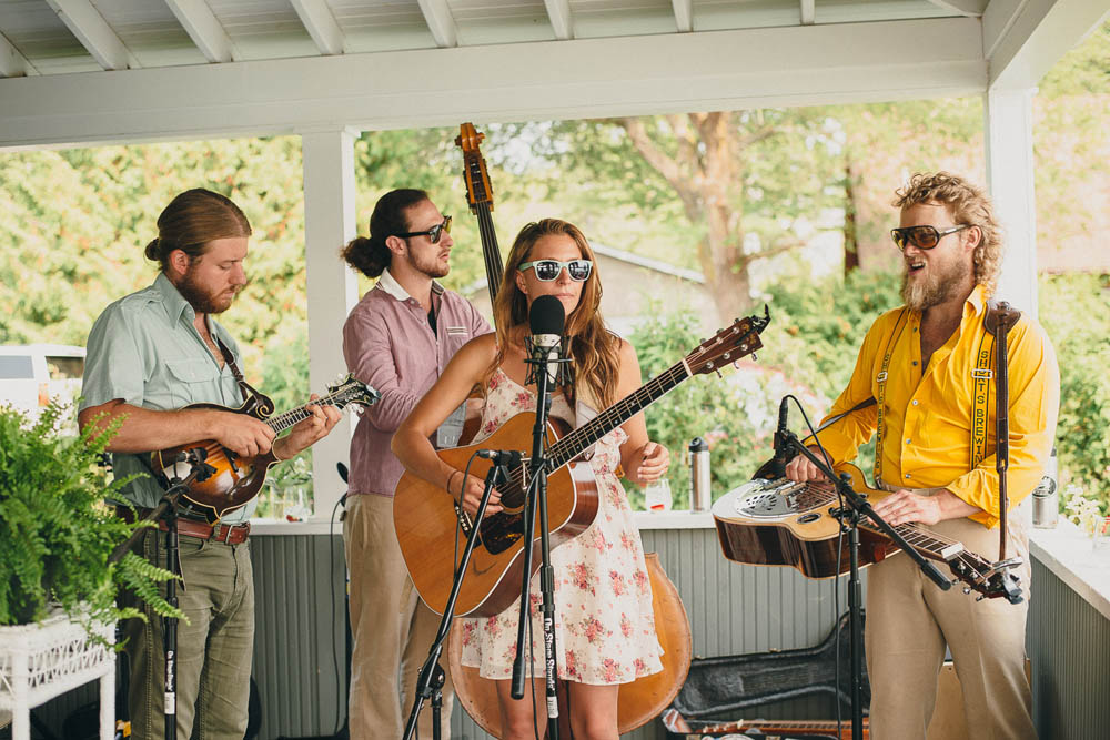 fun band plays at private residence wedding