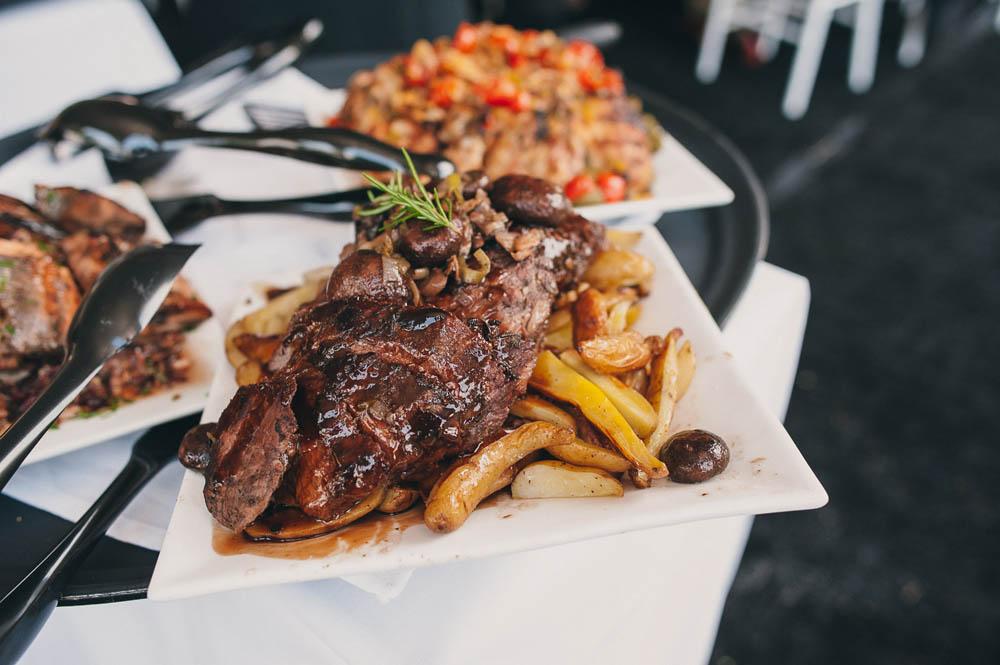 Steak and potatoes wedding menu