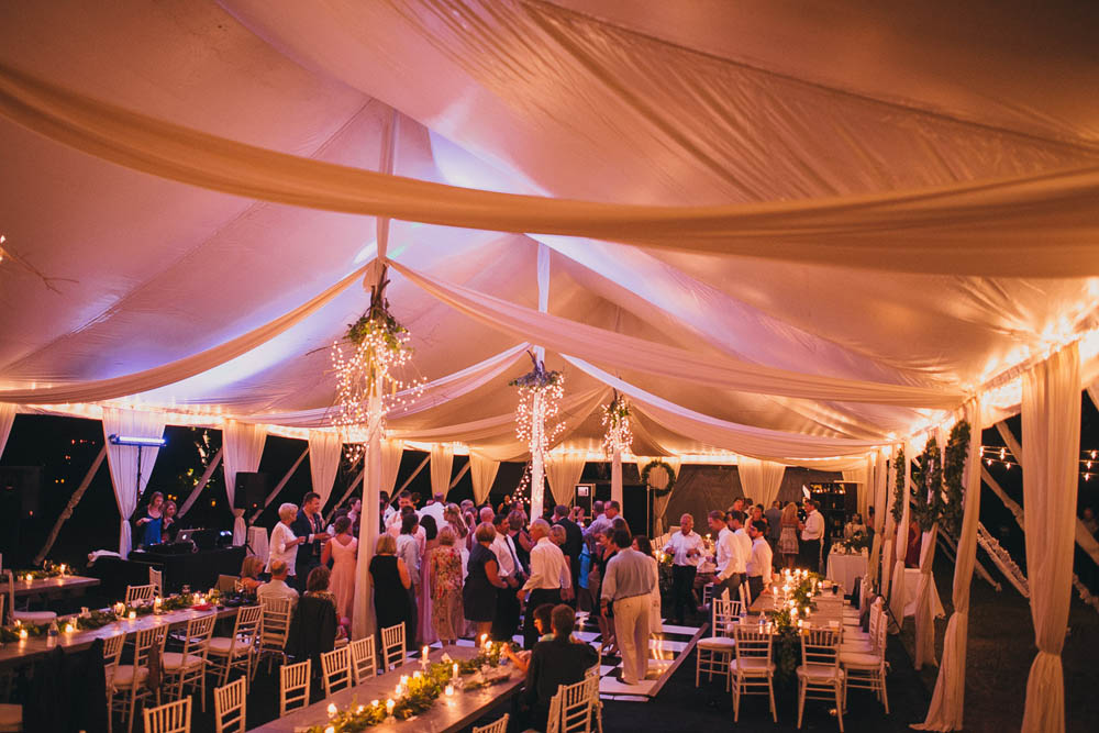 beautiful lit wedding tent