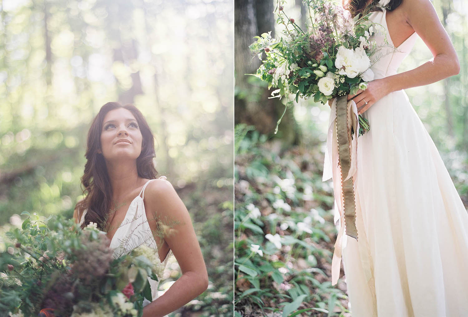 trillium inspired forest bridal shoot