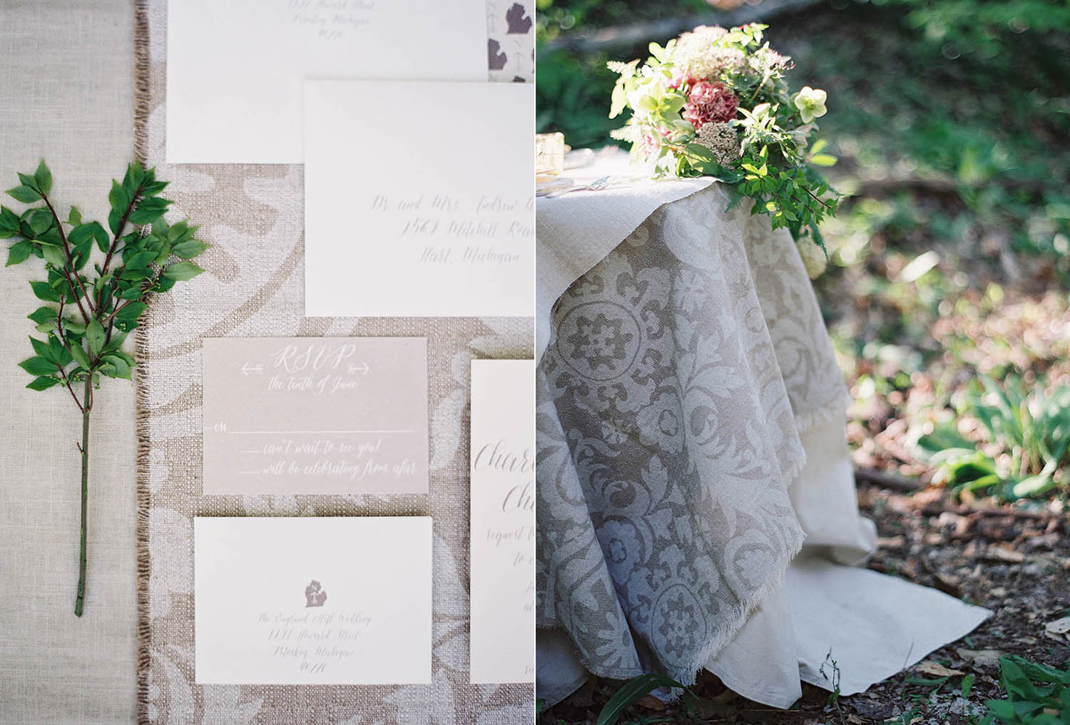 linen invitation suite