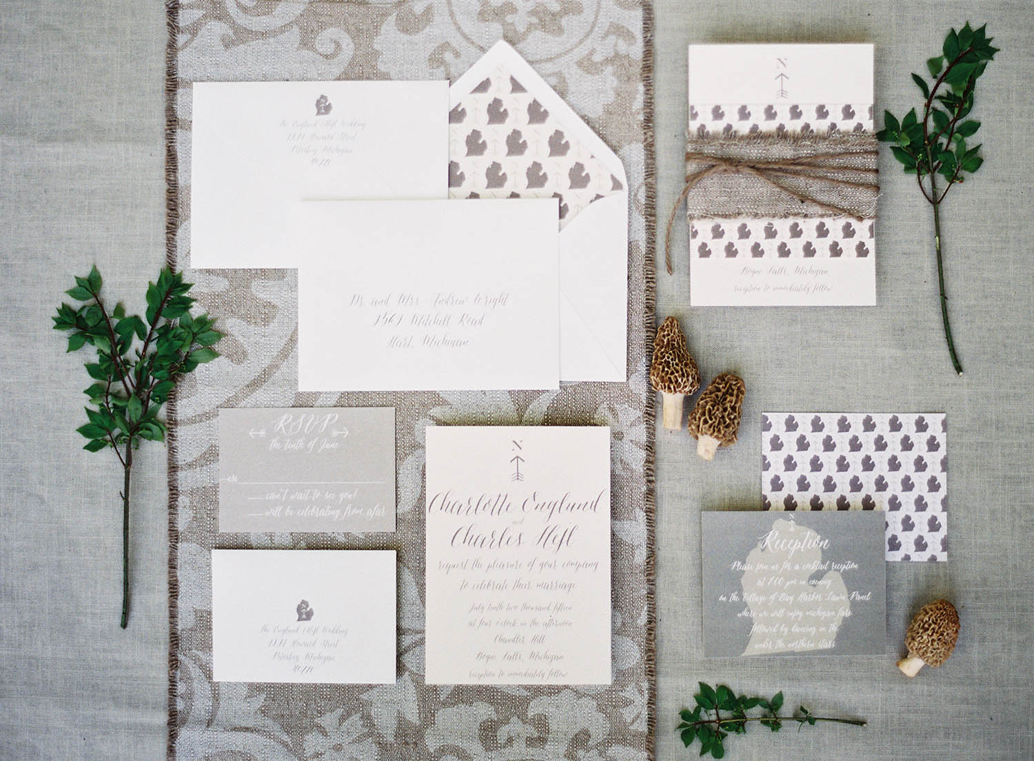 modern calligraphy grey invitation suite