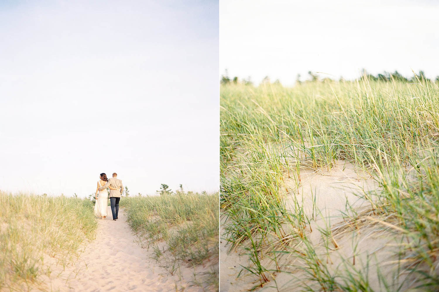 bride and groom on grassy lake michigan pathway