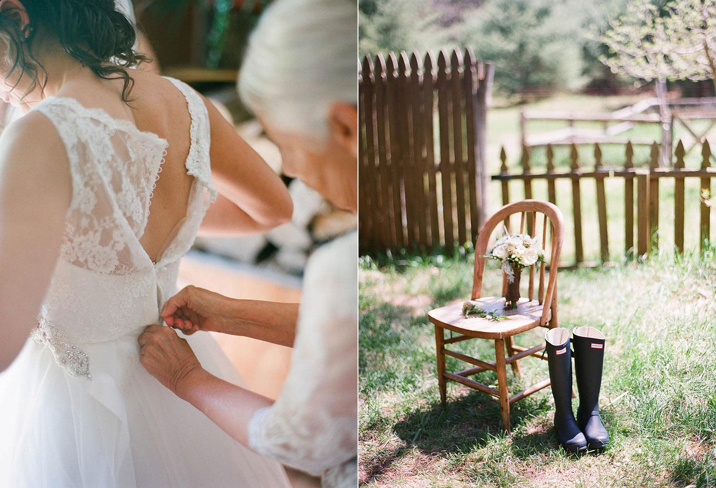 wedding prep and hunter boots