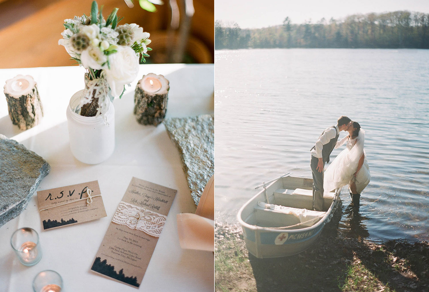 rustic log details simple centerpieces