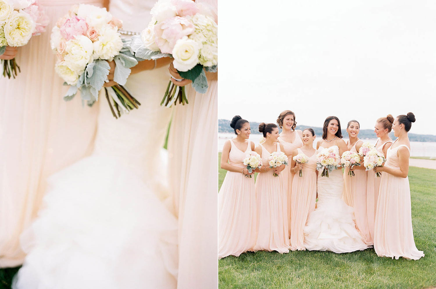 blush dresses with lambsear bouquets