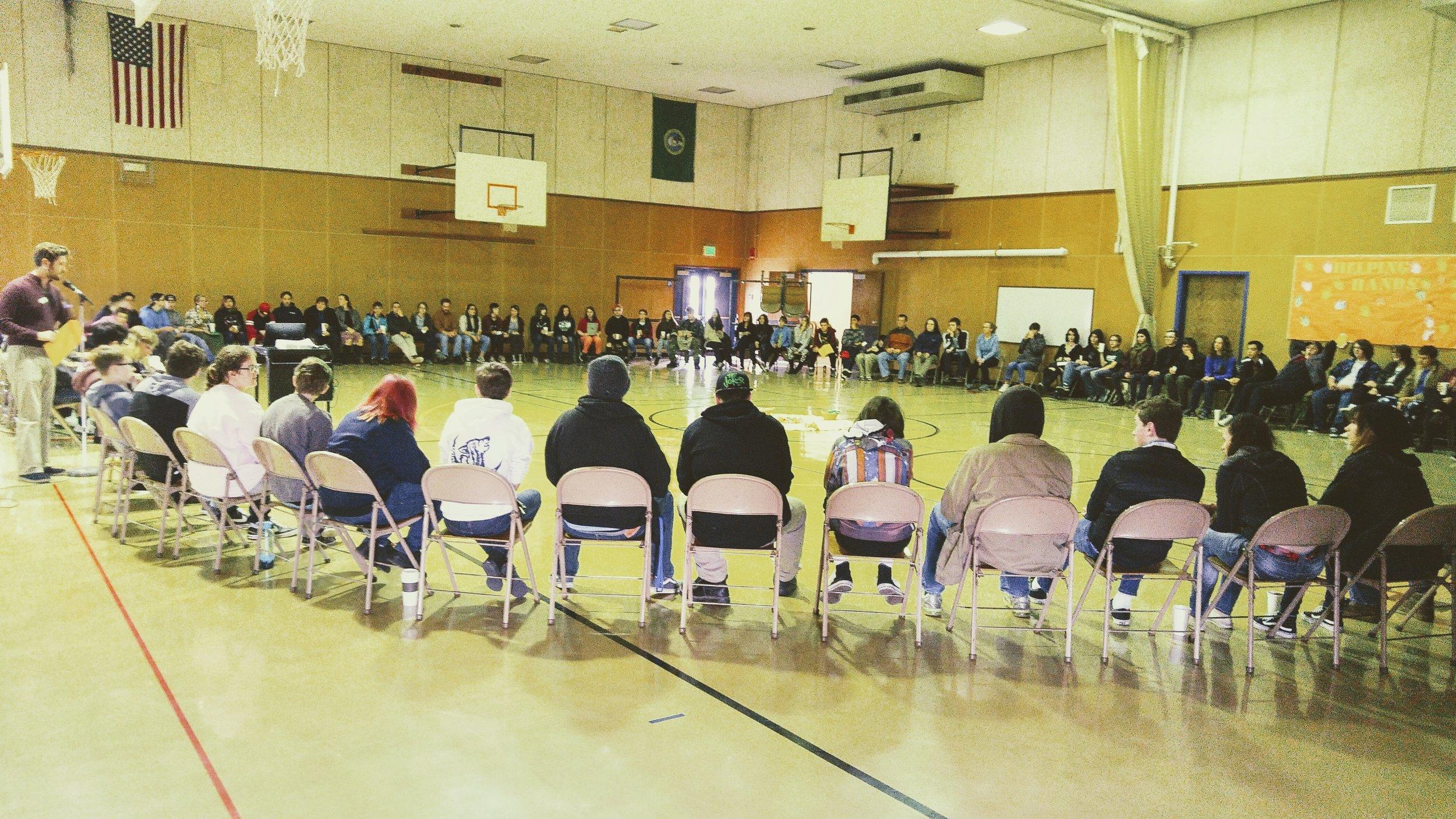 A school-wide restorative circle at Windward High School. Photo courtesy of daniel soloff.