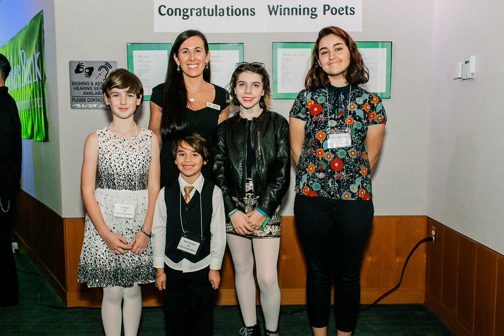 WDRC Executive Director Moonwater with the 2017 Peaceful Poetry Winners, from left: Lily W., Sylvan W., Kate G., and Jessica J.