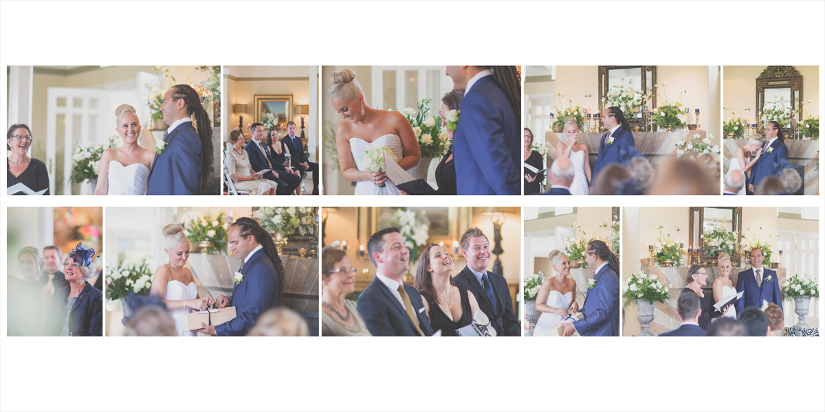 Nervous laughter and candid moments at the wedding ceremony.