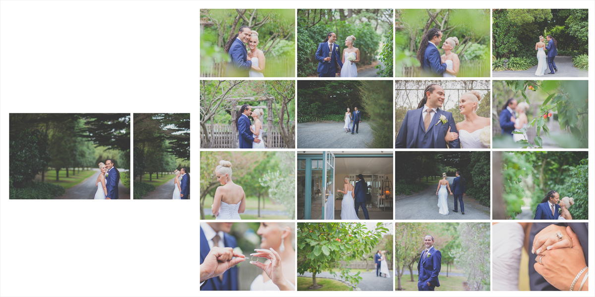 Photo montage of bridal couple's relaxed and fun location photos.