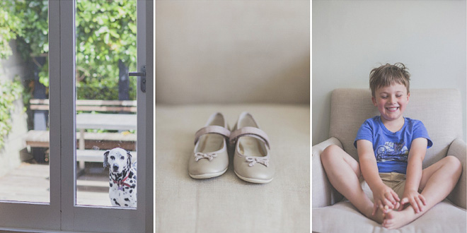 The excited little boy, flower girl shoe detail, and the apprehensive dalmatian named Doris at the preparations for a big wedding celebration. By Jenny Siaosi.