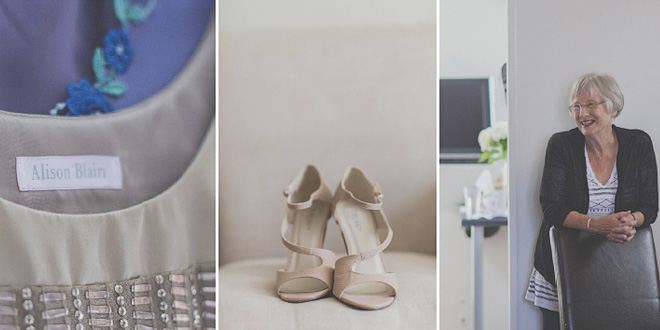 Details of Wedding shoes and couture bridal gown by Alison Blain. Mother of the bride smiling at her daughter.