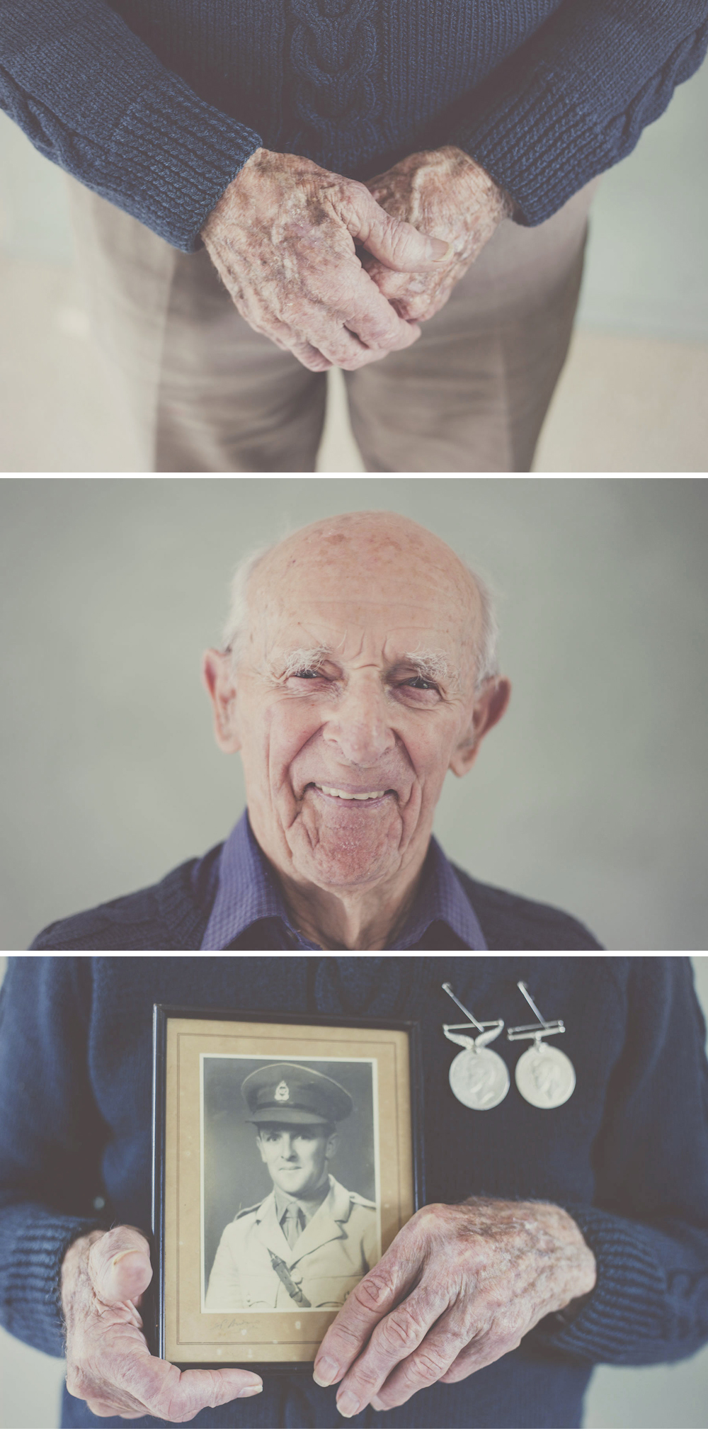 Portrait of a loving grandfather, New Zealand WW2 veteran, Hugh Christophers at 97 years old.