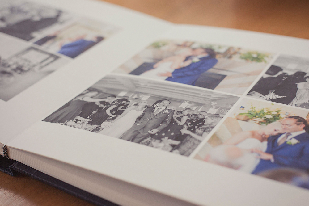 Detail of inside of wedding album, smooth fine art paper.