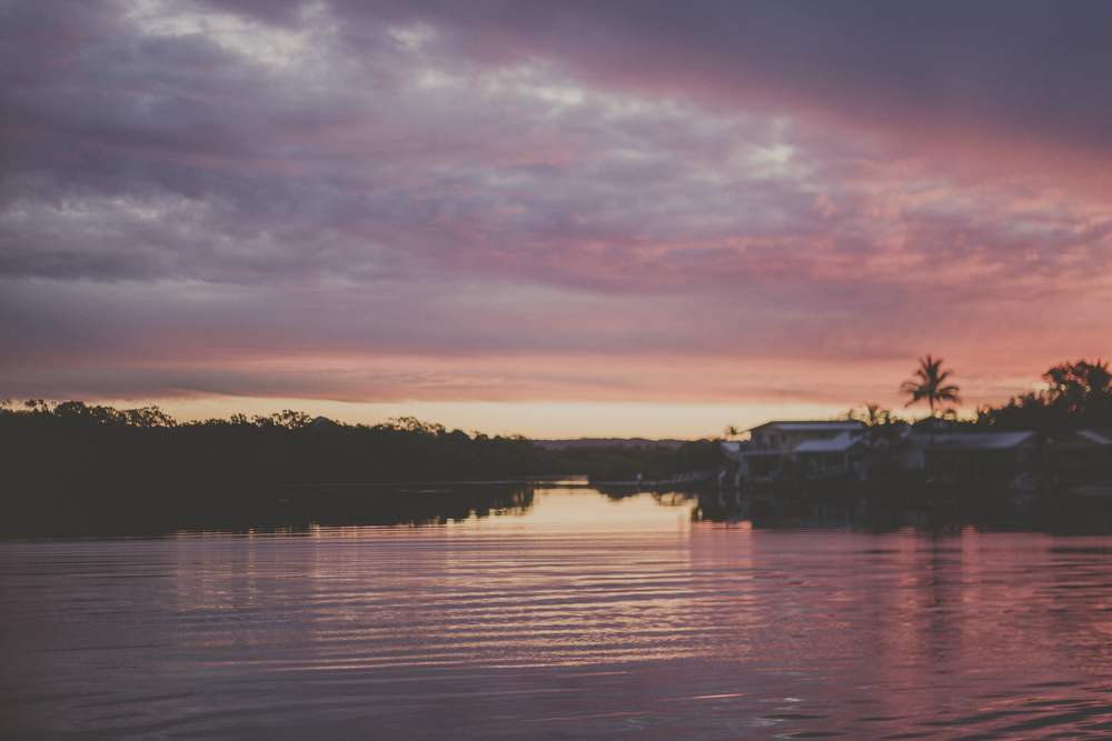Sunset cruise on the Nerang River. Photos of holiday in the Sunshine Coast. Australia.