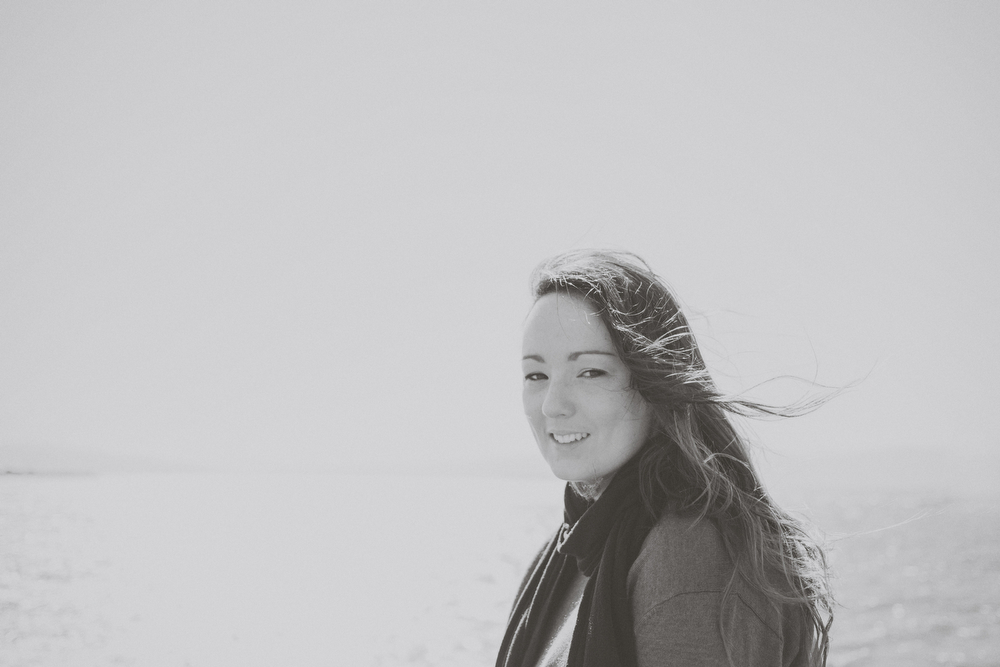 Black and white portrait of Happily engaged, bride to be... waterfront in Wellington city.