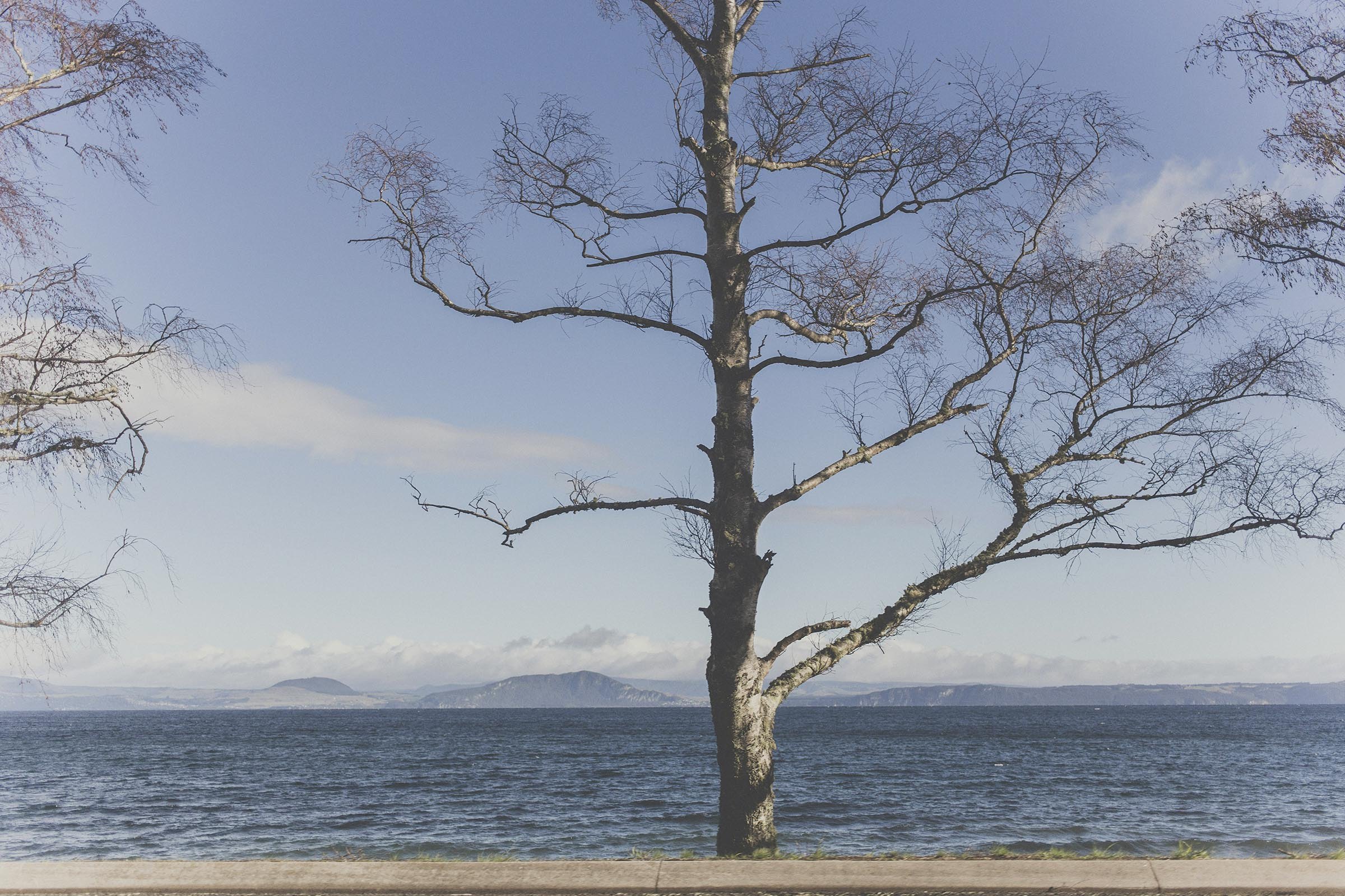 Landscape, road trip photo of Lake Taupo, North Island of New Zealand. Image by Jenny Siaosi.