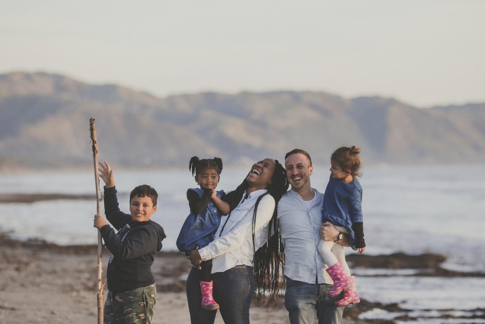 Famiy photos on a winter beach in Kapiti near Wellington, by Jenny Siaosi. Siaosi Photography.
