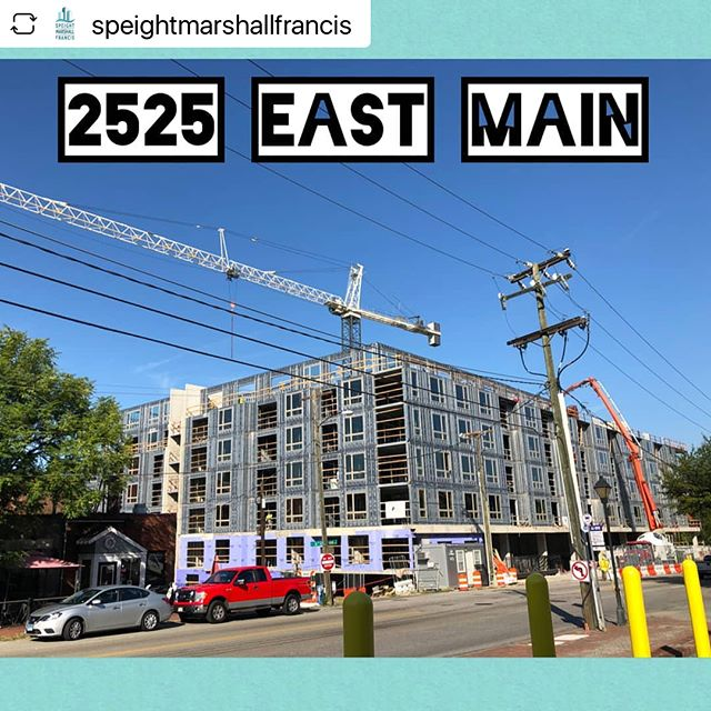 Looking good! And it's right next to one of our favorite places, @milliesrva :)⁣ ⁣⁣ ⁣#repost @speightmarshallfrancis⁣ ⁣__________________⁣ ⁣⁣ ⁣ #RVA is the place to be! Developed by @macfarlanepartners and designed with @walterparksarchitects,  2525 East Main is another one of our many apartments / mixed-use projects going up in Richmond, Virginia. A podium to house parking and retail is partially underground due to the slope of the site. It supports 217 apartment units on five levels above.