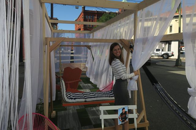 """Come by, check out, and relax at our Park(ing) Day install right outside our office at 313 N Adams St. Donations of lumber and frames from @kbsgc.inc and """"grass"""" carpet samples from @shawcontract 😀  #walterparkingday #parkingday #parkingdayrva #parkingday2019 #rva #walterparksarchitects"""