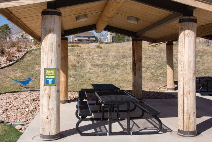 Pavilion sign design for park, metal