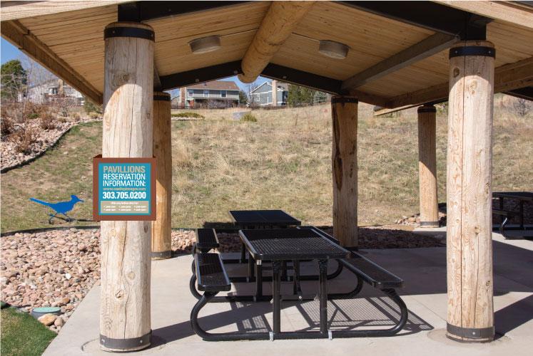 Pavilion sign design for park, on beam