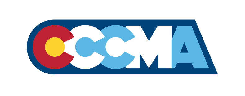 """Slate recommends this option. It honors the colorado state """"C"""" logo in a more subtle manner. this allows a slight nod to the state but also establishes CCCMA with it's own independent identity."""