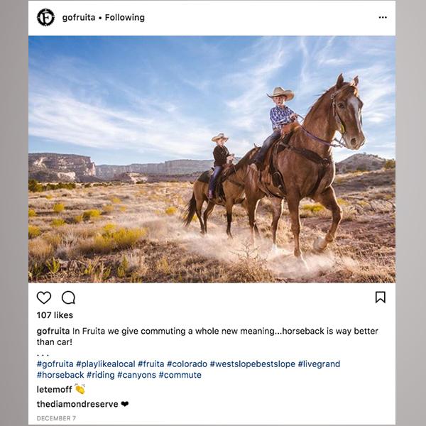 Go Fruita social media post for city tourism