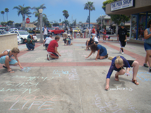 ProLife Campers take the Newport Beach, CA Pier and make it one huge billboard for life!